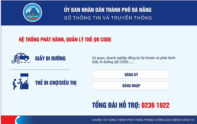 Giao diện cổng cấp mã QR code thành phố Đà Nẵng.