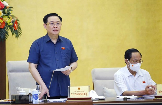 Chủ tịch Quốc hội Vương Đình Huệ nghe báo cáo việc chuẩn bị giám sát trong năm 2022