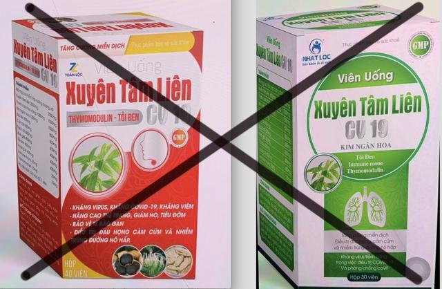 Bộ Y tế cảnh báo về 2 sản phẩm Xuyên Tâm Liên giả mạo công dụng phòng chống Covid-19