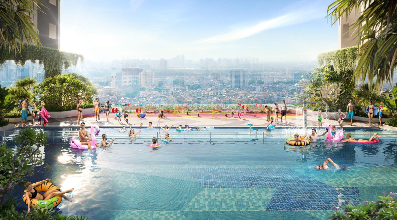 Hồ bơi sky pool tại tầng 5 của dự án Moonlight Centre Point mang lại nhiều trải nghiệm mới lạ cho cư dân.Ảnh: Hưng Thịnh Land