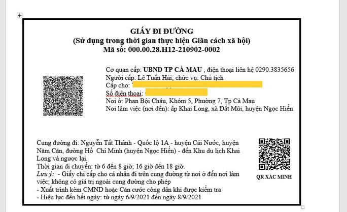 Mẫu giấy đi đường điện tử được cấp qua ứng dụng Zalo. (nld.com.vn)