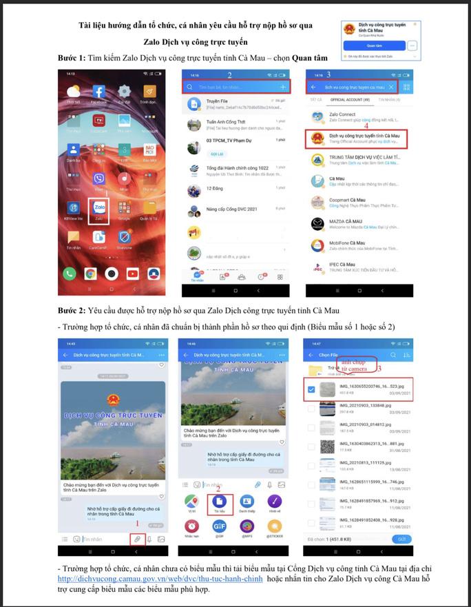 Hướng dẫn đăng ký, nộp hồ sơ xin giấy đi đường qua ứng dụng Zalo dịch vụ công trực tuyến tỉnh Cà Mau. (Ảnh: nld.com.vn)