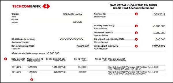 Mẫu giấy sao kê tài khoản của ngân hàng Techcombank