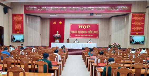 Quang cảnh cuộc họp Ban chỉ đạo phòng, chống dịch bệnh Covid-19 tỉnh Kiên Giang