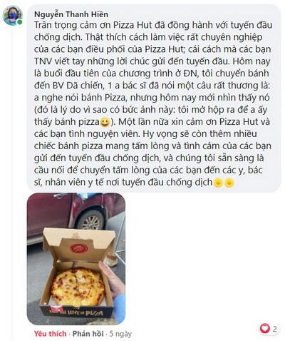 Bình luận trên mạng xã hội Facebook của chị H tham gia hỗ trợ điều phối bánh đến các điểm