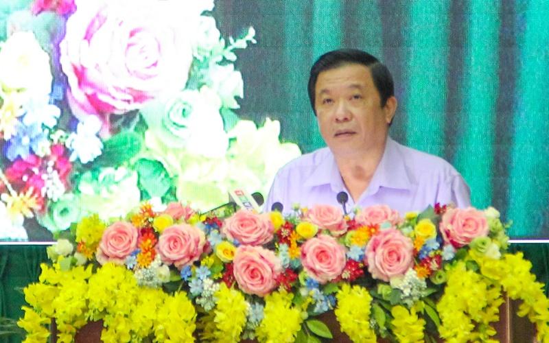 Bí thư Tỉnh ủy Vĩnh Long Bùi Văn Nghiêm kết luận hội nghị vào chiều tối 14/9. (Ảnh: Nhandan.vn)