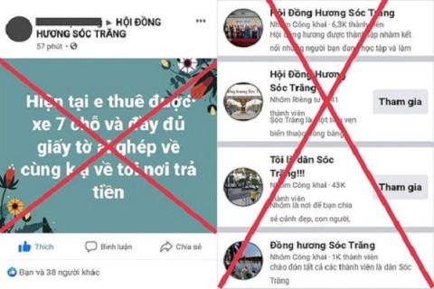 """Giả mạo """"Hội đồng hương Sóc Trăng"""" trên MXH, để kêu gọi người dân về quê có thu phí"""