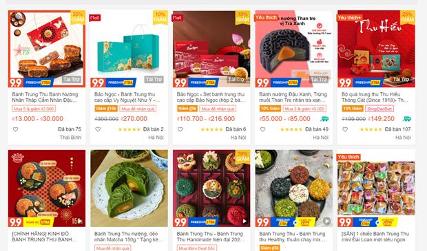 Bánh Trung Thu đa dạng mẫu mã, chủng loại và giá tiền trên chợ online. (Ảnh chụp màn hình)