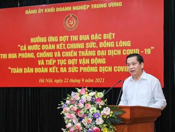 Đồng chí Nguyễn Long Hải, Ủy viên dự khuyết Trung ương Đảng, Bí thư Đảng ủy Khối Doanh nghiệp Trung ương phát biểu tại buổi hưởng ứng