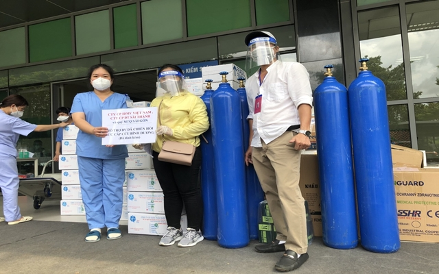 Công ty Cổ phần IBMV Việt Nam và Công ty CP Đầu tư Sài Thành đã hỗ trợ nhu yếu phẩm cho Bệnh viện Dã chiến Hồi Sức Cấp Cứu Tỉnh Bình Dương