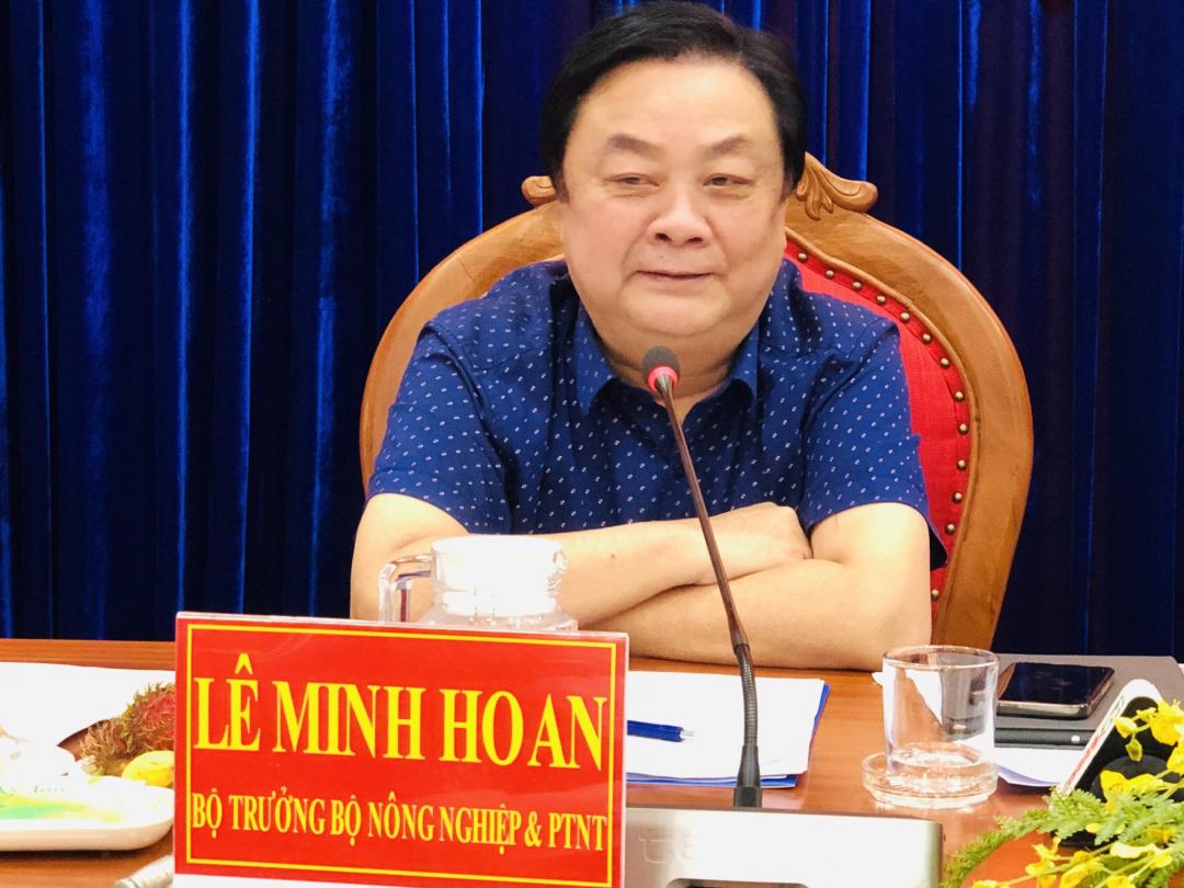 Bộ trưởng phát biểu tại buổi làm việc với lãnh đạo tỉnh Cà Mau, sáng 24/9. Ảnh: MS-TL.