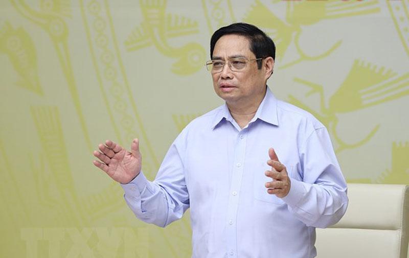 Thủ tướng Phạm Minh Chính chủ trì hội nghị. Ảnh: Dương Giang/TTXVN