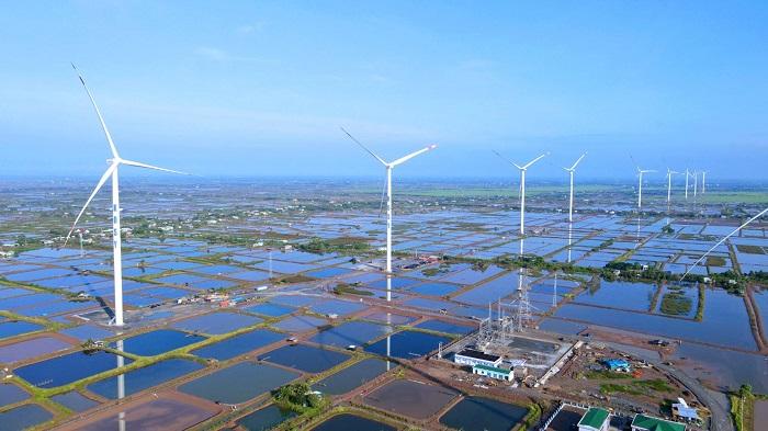 Toàn cảnh dự án Điện gió Kosy Bạc Liêu nhìn từ trên cao.