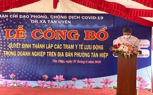 Ông Đoàn Hồng Tươi, Chủ tịch UBND, Phó ban chỉ đạo phòng, chống dịch bệnh Covid-19 TX.Tân Uyên
