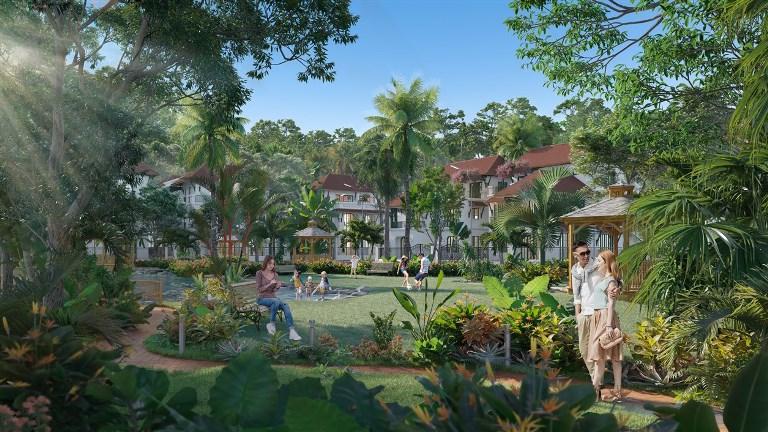 Không gian xanh cùng hệ thống tiện ích wellness là điểm nhấn ấn tượng của Sun Tropical Village. (Ảnh phối cảnh minh họa)