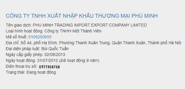 Xuất nhập khẩu Thương mại Phú Minh bị phong tỏa tài khoản để cưỡng chế thuế