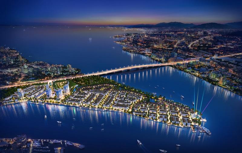 Dự án Marine City được bao bọc bởi 3 mặt tiền giáp biển. Ảnh: Phối cảnh dự án