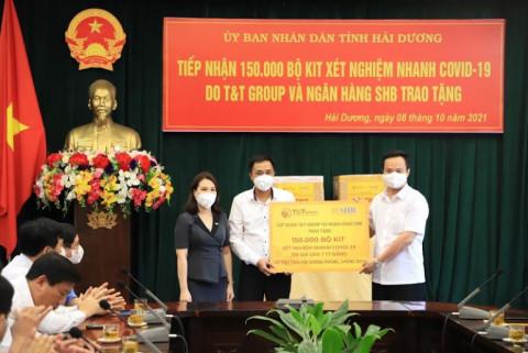 Tập đoàn T&T Group và Ngân hàng SHB hỗ trợ tỉnh Hải Dương 150.000 bộ Kit xét nghiệm nhanh trị giá gần 7 tỷ đồng