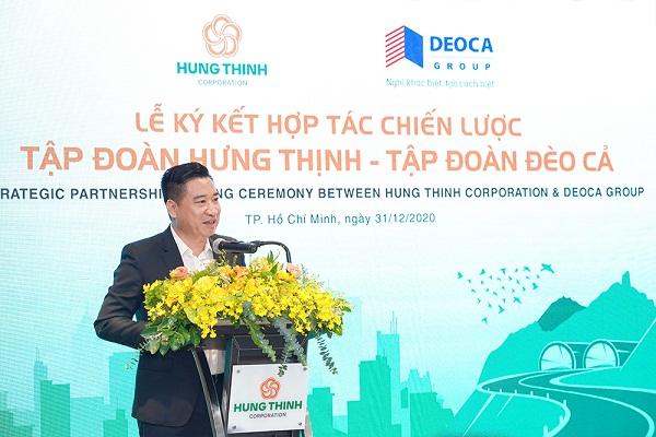 ông Nguyễn Đình Trung phát biểu trong buổi lễ ký kết hợp tác chiến lược cùng Tập đoàn FPT