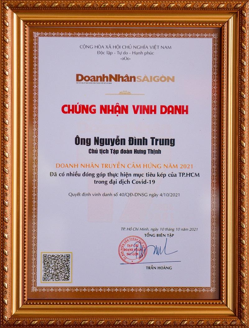 Chứng nhận vinh danh Chủ tịch Tập đoàn Hưng Thịnh Nguyễn Đình Trung: Doanh nhân truyền cảm hứng năm 2021