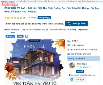 """Dựng dự án """"ma"""" Park Hill Villas (Thừa Thiên Huế), Chủ tịch HĐQT Khải Tín Group bị bắt"""