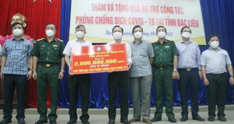 Đồng Nai hỗ trợ Bạc Liêu 2 tỉ đồng thực hiện công tác phòng, chống dịch bệnh Covid-19